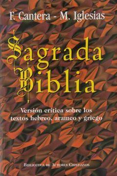 portada Sagrada Biblia (Cantera-Iglesias): Versión Crítica Sobre los Textos Hebreo, Arameo y Griego (Maior)